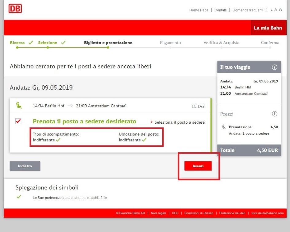 schermata di conferma di prenotazione del posto a sedere sul sito DB Bahn