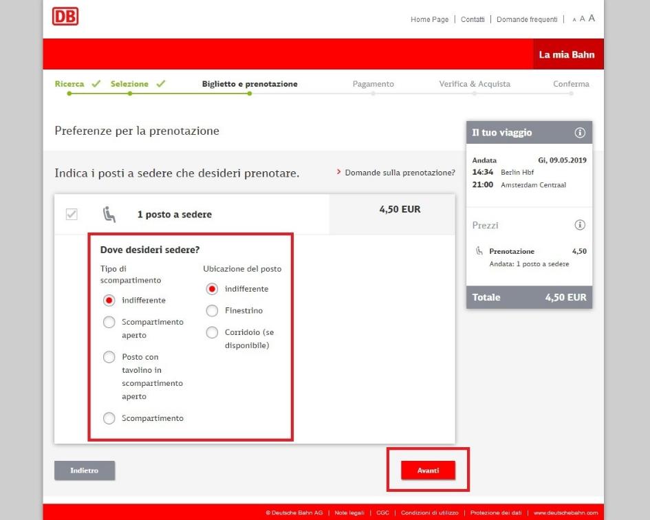 schermata dove scegliere le caratteristiche del posto prenotato
