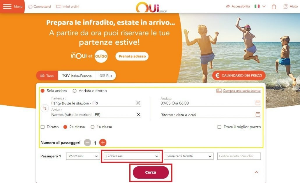 schermata dove inizia il processo di prenotazione dei treni in Francia