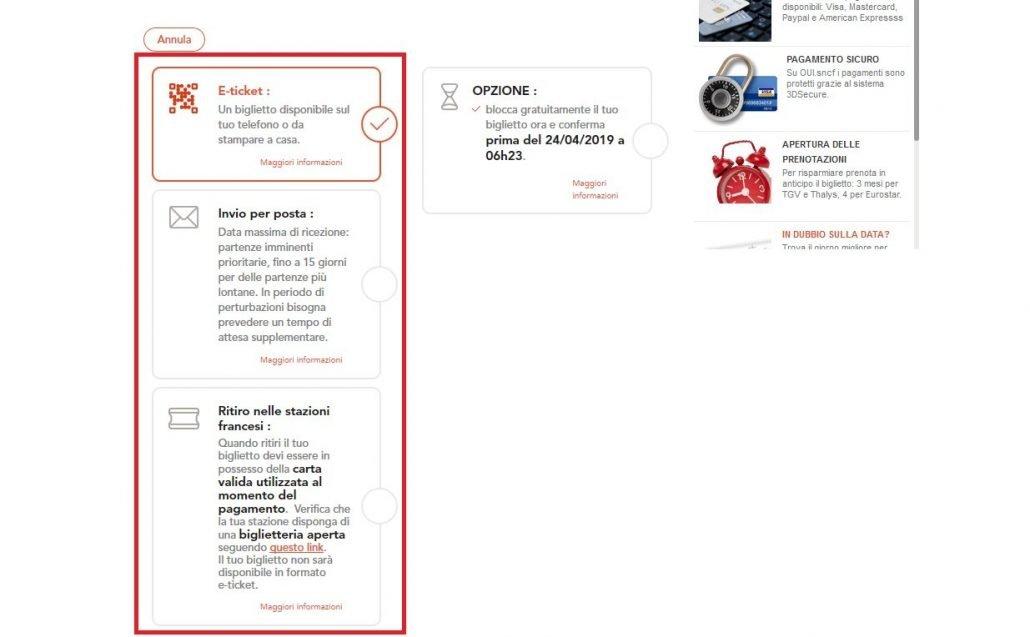 schermata dove vengono mostrate le varie opzioni per il ritiro della prenotazione dei treni in Francia