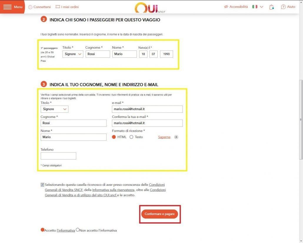 schermata in cui vengono richiesti i dati personali dell'acquirente