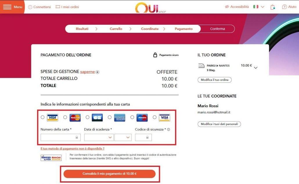 schermata per selezionare il tipo di pagamento della prenotazione effettuata su un treno in Francia