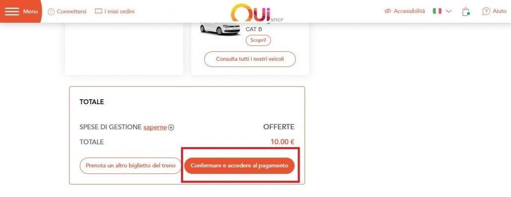 schermata per procedere al pagamento della prenotazione del posto sui treni in Francia