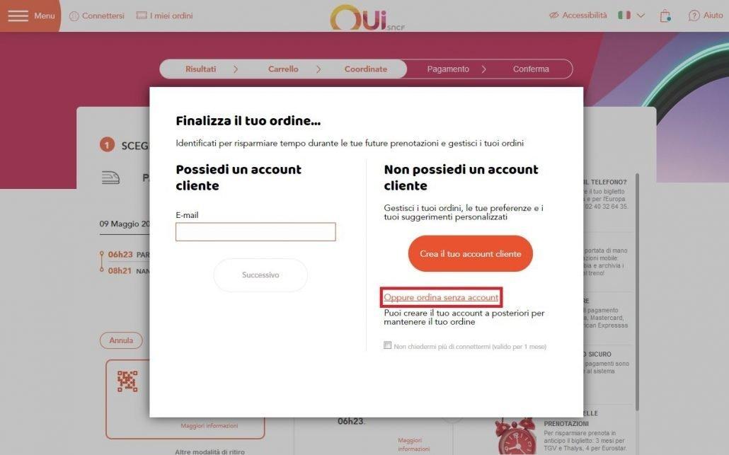 schermata per entrare o registrarsi sul sito Oui.