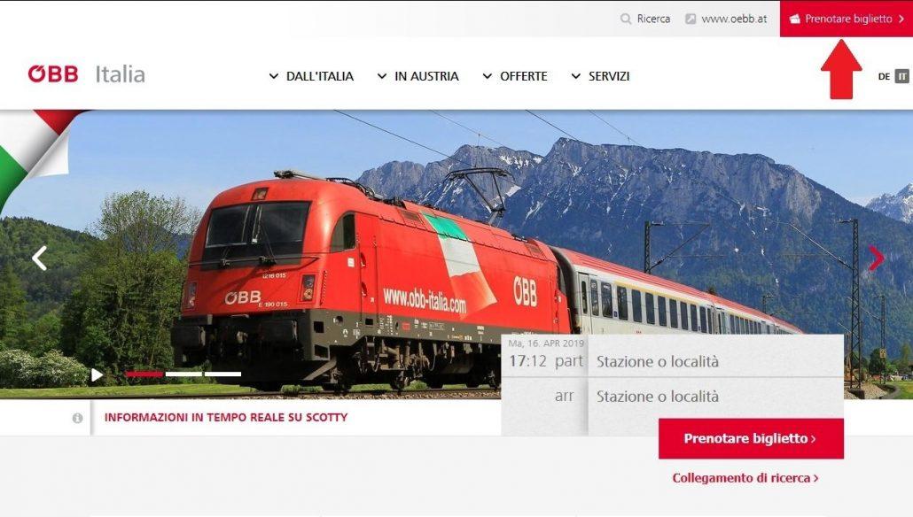 schermata principale del sito ÖBB, da cui inizia il procedimento per fare una prenotazione del posto a sedere