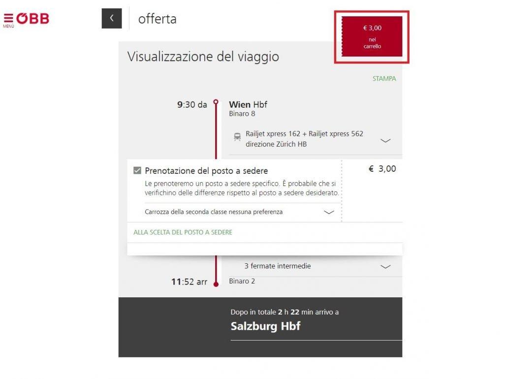 schermata di riepilogo della prenotazione del posto a sedere sul sito ÖBB