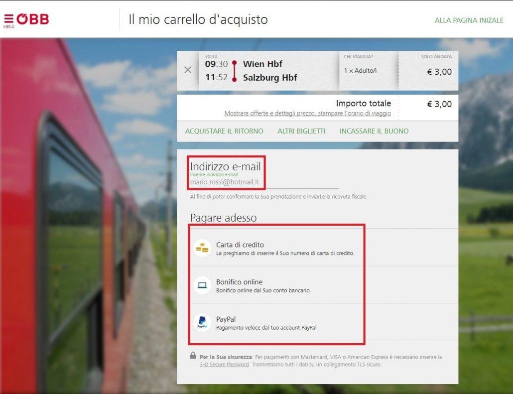 schermata dove inserire l'indirizzo mail e selezionare il tipo di pagamento