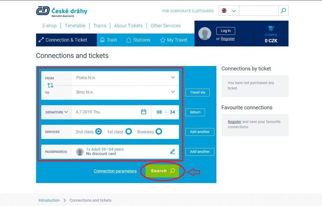 schermata iniziale per prenotare i treni in Repubblica Ceca