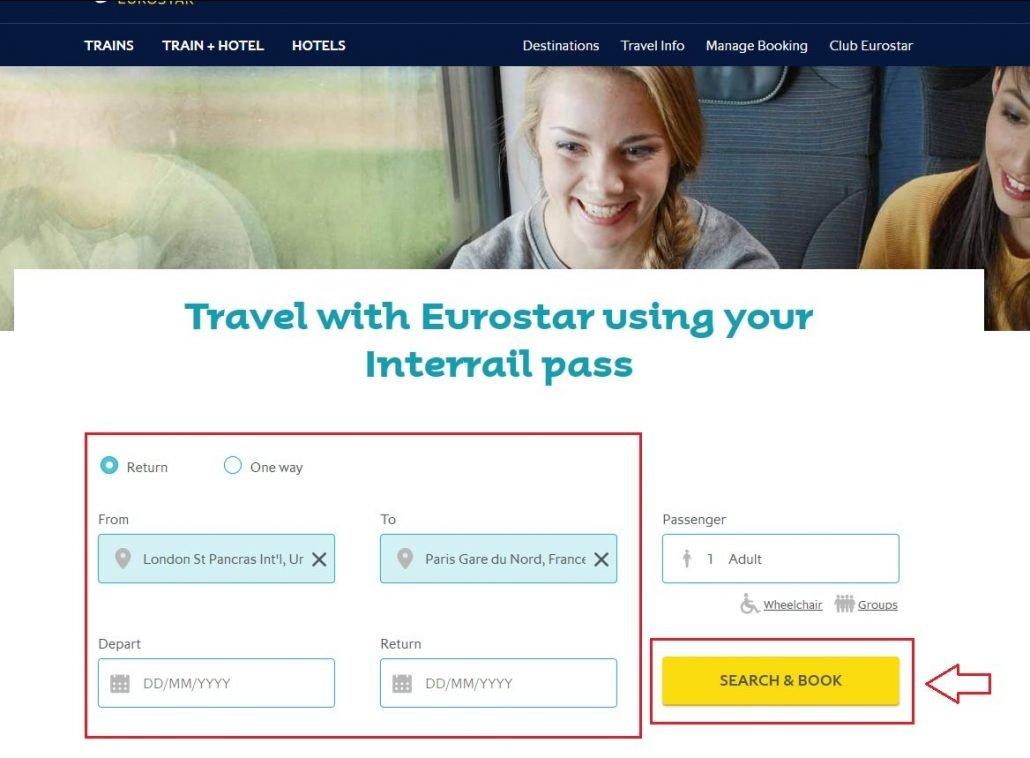 schermata iniziale per prenotare un posto a sedere ssui treni Eurostar per un viaggio interrail