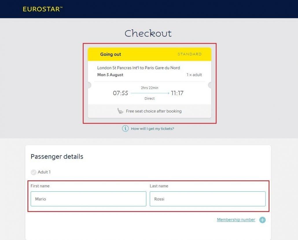schermata di riepilogo della prenotazione del posto su un treno Eurostar per i viaggiatori interrail