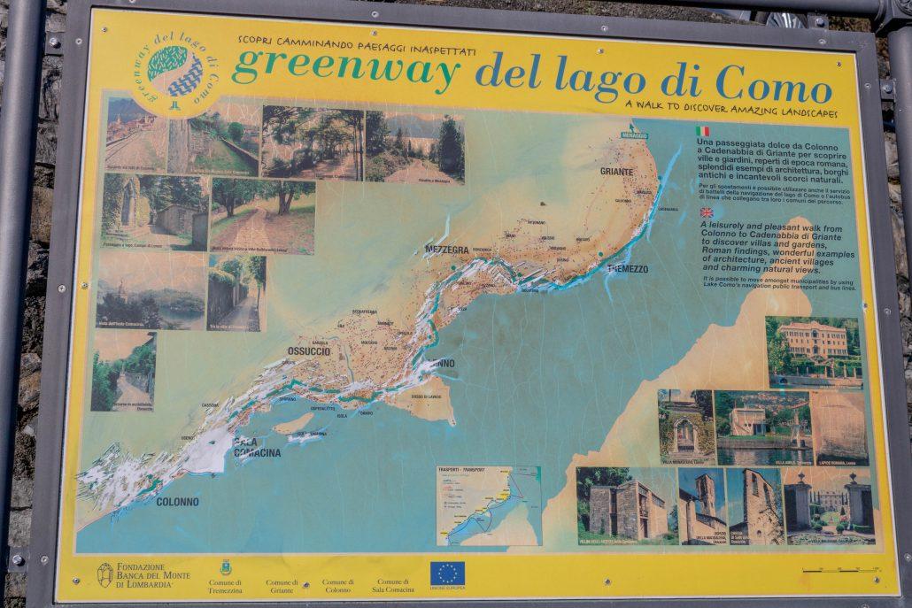 Greenway lago di Como: la mappa del percorso da Colonno a Cadenabbia